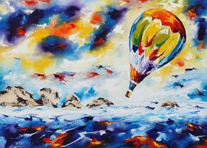 Balloon over the sea 2140, Bakter Ante, oil on canvas