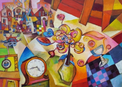 Clock and flowers, Bengez Miljenko, oil on canvas