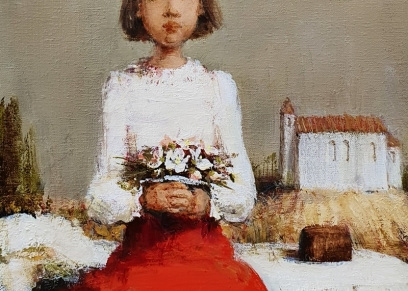 Girl in a red skirt, Cvek Dragica, oil on canvas