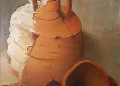 Amphora, Dragičević, oil on canvas