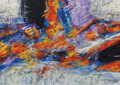 Abstraction 2133, Dragija Milan, oil on canvas