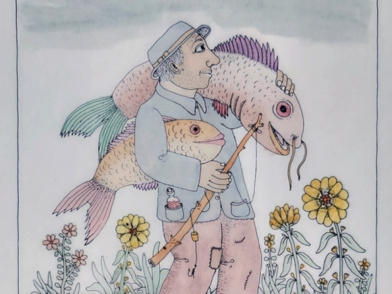 A fisherman with two fish