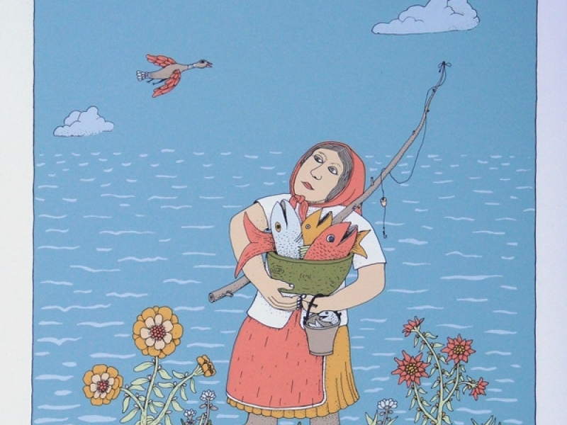 A Woman Carrying a Fish