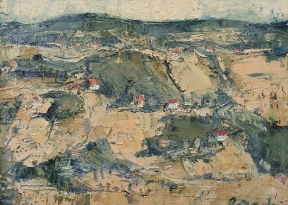 Village landscape, Janda Jozo, oil on canvas