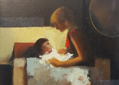Mother and child R-9-3, Jurković Mato, oil on canvas