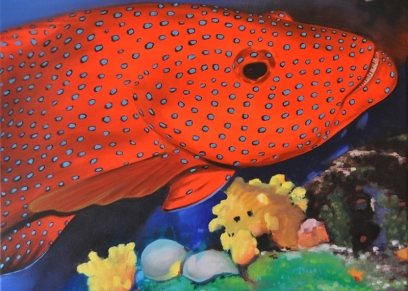 Red fish, Kopić Damir, oil on canvas