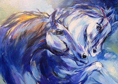 Two horses 952, Sirotić Zlatko, oil on canvas