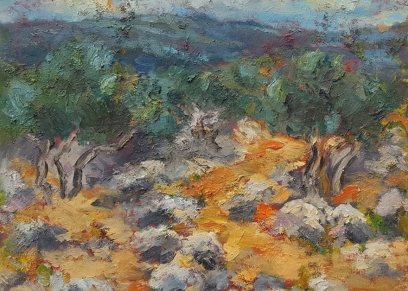Olive grove K, Travaš Sunčica, oil on canvas