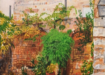Yard and greenery, Vejzović Fadil, oil on canvas