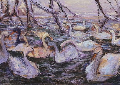 Swan lake, Zvonković Blaženka, oil on canvas